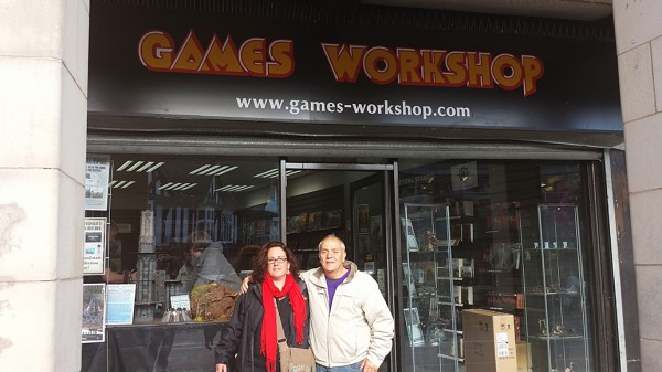 Dawn and Terry Whetton outside the Chesterfield, UK GW store