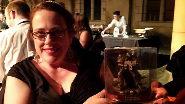 Dawn and her wicked cool 10-year Space Marine trophy!