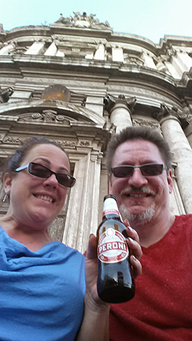 Enjoying a cold one at the Roman Imperial Forum, Rome